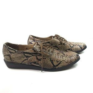 Deena & Ozzy Snakeskin Lace Up Low Top Oxfords
